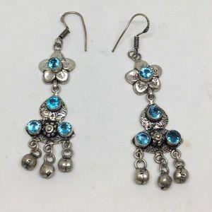 Blue Topaz Silver Dangle Earrings